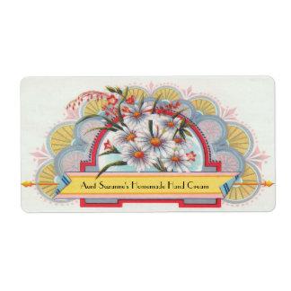 Etiqueta floral del art déco de encargo etiqueta de envío