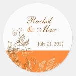 Etiqueta floral del boda del naranja y de Brown