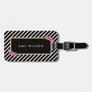 Etiqueta floral del bolso de la acuarela elegante etiquetas maleta