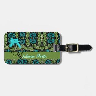 Etiqueta floral del equipaje del vintage etiquetas bolsas