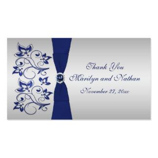 Etiqueta floral del favor del boda de la marina de tarjetas personales