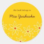 Etiqueta floral del libro