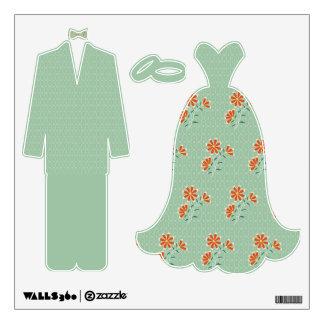 Etiqueta floral del novio del batik de Naila Vinilo