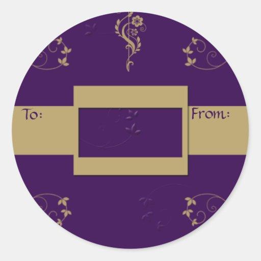 Etiqueta floral del regalo de la cinta de la