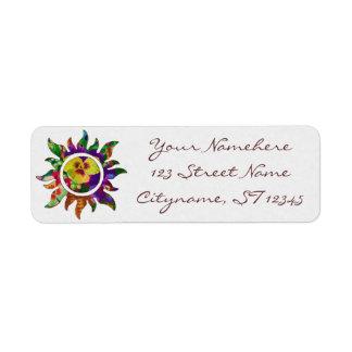 Etiqueta floral del remite del adorno de Sun Etiqueta De Remitente