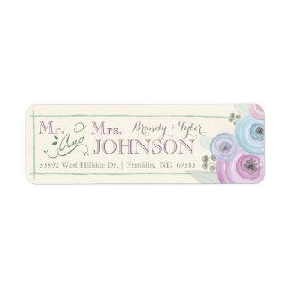 Etiqueta floral del remite del boda de la acuarela etiqueta de remitente