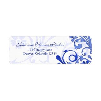 Etiqueta floral del remite del boda del azul real etiquetas de remite
