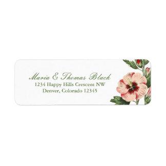 Etiqueta floral del remite del hibisco del vintage etiquetas de remite