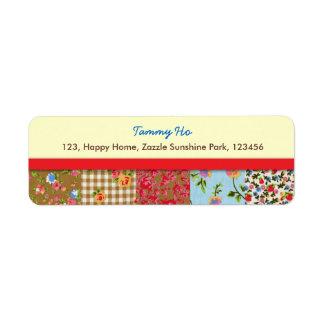 Etiqueta floral del remite del remiendo de la tela etiquetas de remite