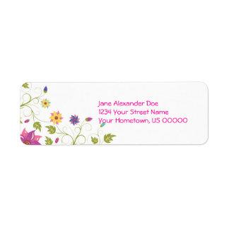 Etiqueta floral del remite del rosa y del amarillo etiquetas de remite