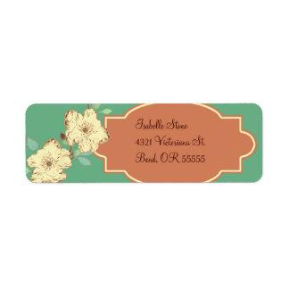 Etiqueta floral del remite del Victorian Etiqueta De Remite