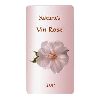 Etiqueta floral del vino de la flor de cerezo etiqueta de envío