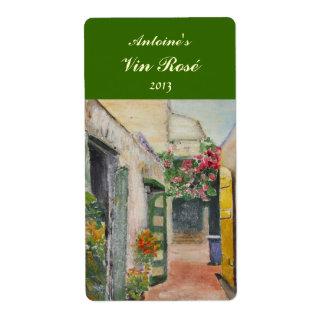 Etiqueta floral del vino del callejón etiquetas de envío