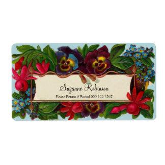 Etiqueta floral del vintage colorido del ramo etiqueta de envío
