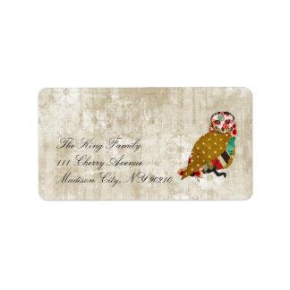 Etiqueta floral del vintage de la lechada de cal etiquetas de dirección