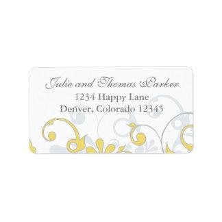 Etiqueta floral gris amarilla del remite del boda etiqueta de dirección