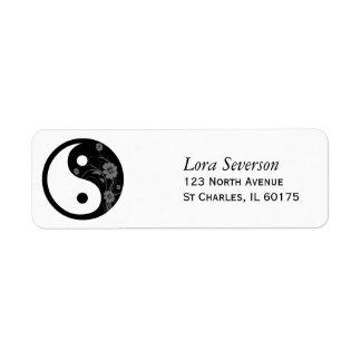 Etiqueta floral negra del remite de Yin Yang Etiqueta De Remite