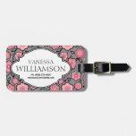 Etiqueta floral personalizada gris rosado dulce de etiquetas para maletas