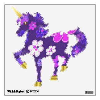 Etiqueta floral púrpura de la pared del unicornio vinilo