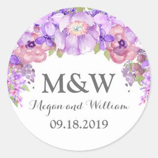 Etiqueta floral púrpura del boda del monograma de