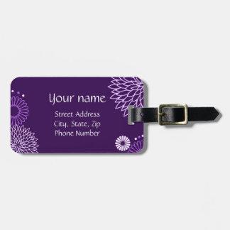 Etiqueta floral púrpura del equipaje etiqueta de maleta