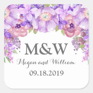 Etiqueta floral púrpura rústica del boda del