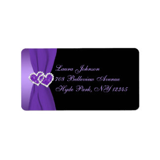 Etiqueta floral púrpura y negra del remite etiquetas de dirección