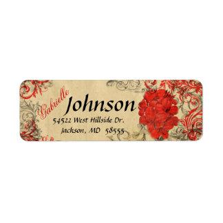 Etiqueta floral roja del remite del vintage etiqueta de remite