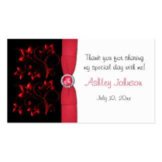 Etiqueta floral roja, negra, y blanca del favor de tarjetas de visita