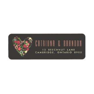 Etiqueta floral romántica del remite del corazón etiquetas de remite