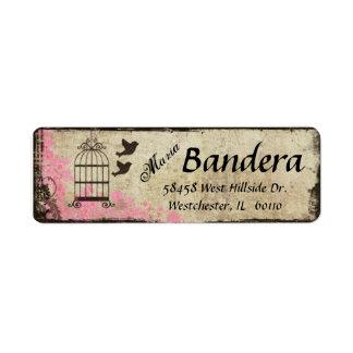Etiqueta floral rosada del remite del Birdcage Etiqueta De Remitente