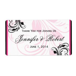 Etiqueta floral rosada negra y oscura de la etiquetas de envío