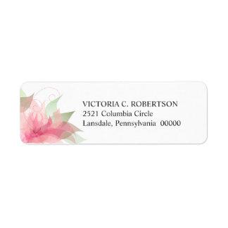 Etiqueta floral rosada y blanca del Stargazer del  Etiqueta De Remite