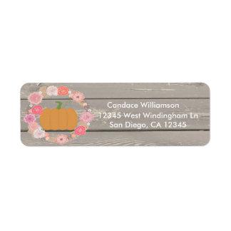 Etiqueta floral rústica del remite de la calabaza etiqueta de remitente