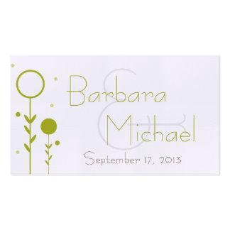 Etiqueta floral verde del favor del boda del punto tarjetas de visita
