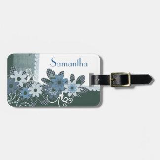 Etiqueta florida azul bonita personalizada con nom etiquetas maletas
