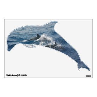 Etiqueta formada delfín de la pared vinilo