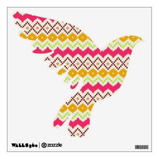 Etiqueta formada paloma tribal de la pared del zig