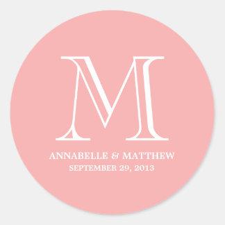 Etiqueta formal del favor del boda del monograma
