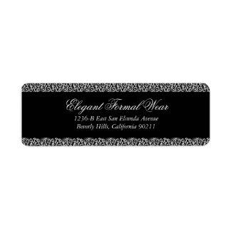 Etiqueta formal negra elegante del remite etiquetas de remite