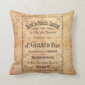 Etiqueta francesa de la belleza del vintage cojín