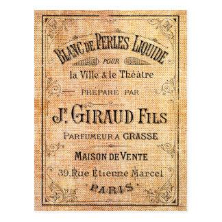 Etiqueta francesa de la belleza del vintage postal