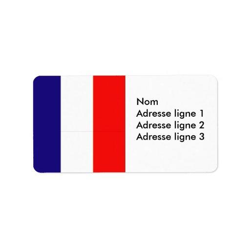Etiqueta francesa de la etiqueta o del nombre de etiquetas de dirección