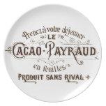 Etiqueta francesa del cacao del vintage platos de comidas