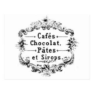 Etiqueta francesa del café y del chocolate del postales