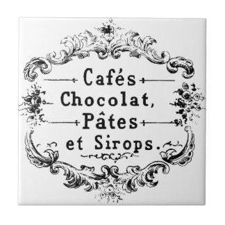 Etiqueta francesa del café y del chocolate del vin azulejo cuadrado pequeño