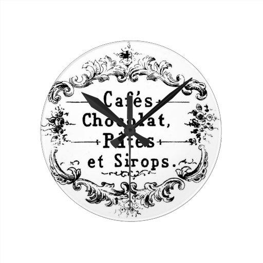 Etiqueta francesa del café y del chocolate del vin relojes de pared