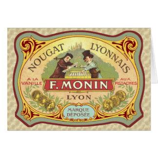 Etiqueta francesa del caramelo del vintage tarjeta de felicitación