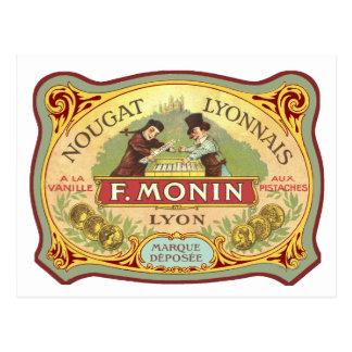 Etiqueta francesa del caramelo del vintage postal