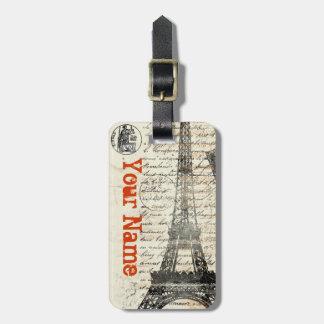 Etiqueta francesa del equipaje del vintage de la t etiquetas bolsas